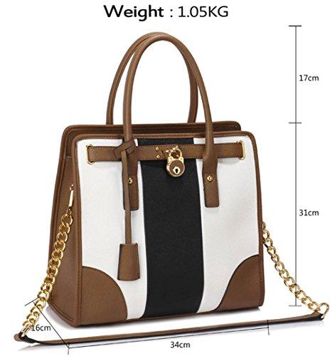 LeahWard® Damen Umhängetasche Handtaschen Große Schultertasche Für Sie Schwarz/Weiß/Taupe