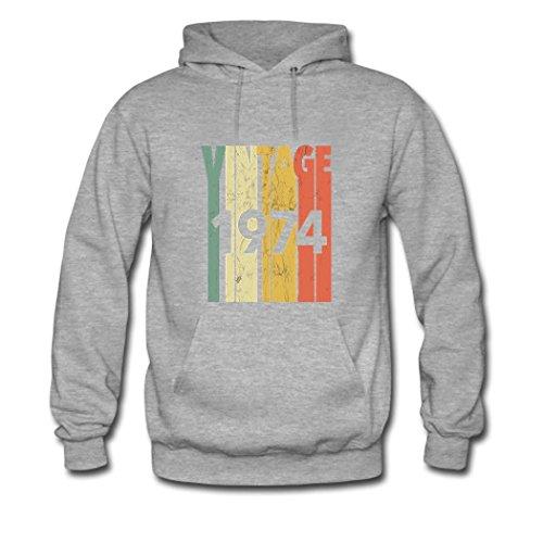 HGLee Printed Personalized Custom Made In 1974 Womens Hoodie Hooded Sweatshirt gray