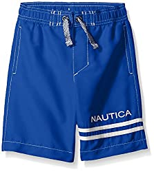 Nautica Little Boys Signature Swim Trunk with Back Pocket, Cobalt, Small (4)
