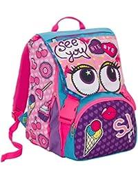 3850081b86 SJ Zaino scuola sdoppiabile GIRL - Viola Azzurro Rosa - FLIP SYSTEM - 28 LT  - 3 pattine sfogliabili elementari e…