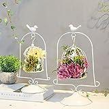 ZI LING SHOP- Creative Retro Desktop florales pájaros de hierro carnaval titular de la vela recuerdo de la boda decorativa decoración de flores Birdcage decoración Flower racks ( Tamaño : Pequeño )