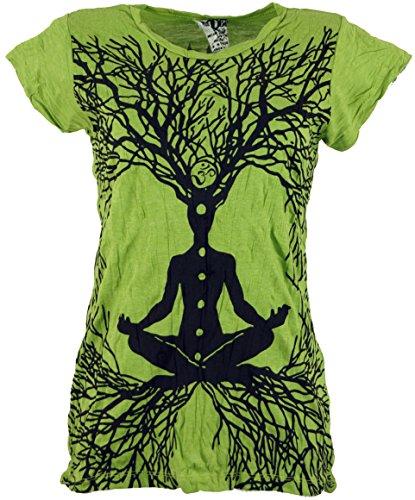 GURU-SHOP, Camiseta Sure T-Shirt Meditation Chakra Buddha, Limón, Algodón, Tamaño:M (38), Camisas Seguras