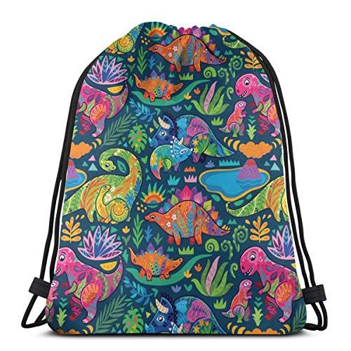 vintage cap Floral Dinos Mom with Babies_Green_19434 3D Print Drawstring Backpack Rucksack Shoulder Bags Gym Bag for Adult 16.9