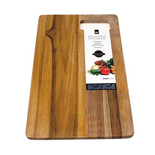 Grande tagliere in legno di teak con impugnatura | tagliere vassoio in legno 40x 25cm