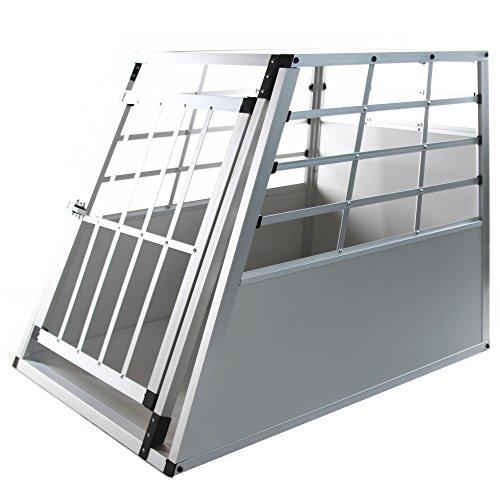 Jalano Hundetransportbox XL Auto Gitterbox große Hunde Alu Hundebox Kofferraum, Farbe:grau