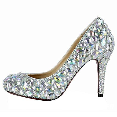 pattini di cristallo del diamante delle donne i talloni sottili degli alti pattini di cuoio handmade del locale notturno di sera del pomeriggio sbalordiscono i sandali . silver . 39