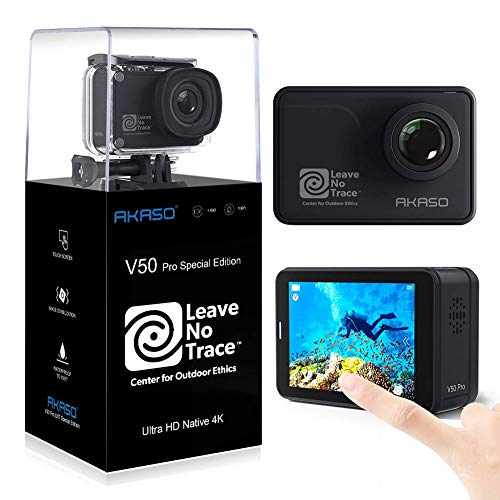 AKASO Action Cam 4K/60fps WiFi Sport Kamera 20MP, 39m Unterwasserkamera mit Touchscreen EIS einstellbar Blickwinkel Fernbedienung, Helmkamera mit kostenlosen Zubehör-Kits (V50 Pro SE)