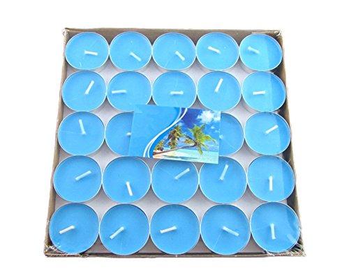 50x Milopon Teelicht Geburtstagskerzen Hochzeit Kerzen Deko Romantische Schwimmkerzen, ohne Rauch, romantisch, Valentinstag, zur Dekoration (Blau)
