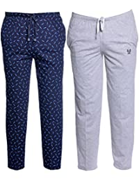 fd94a030 VIMAL Multicolor Print and Plain Cotton Trackpants for Men (Pack of 2)