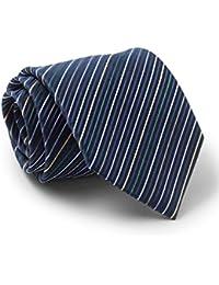 Savile Row Men's Navy Purple Green Yellow Fine Stripe Silk Tie