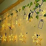 Lianqi 2M/6.6ft LED-Stern-Vorhang-Lichter, Weihnachts Schnur-Lichter, Wasserdichte dekorative Lampen-Streifen für Hochzeits,Feiertags Innen-Außendekorations-Beleuchtung Schnur(Warmes Weiß)