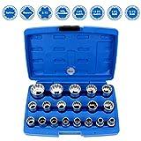 CCLIFE 19 tlg Gear Lock Steckschlüssel Satz Vielzahn 1/2 Zoll 8-32mm Nüsse für Torx
