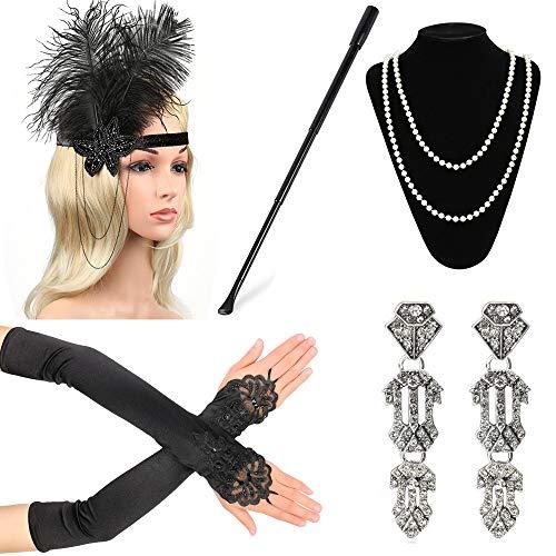 Beelittle 1920er Jahre Zubehör Set für Frauen Flapper Stirnband Perlenkette Handschuhe Zigarettenspitze für große Gatsby Party (M4) -