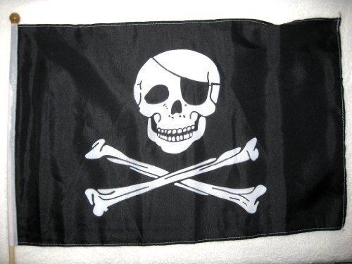 Stockflagge Pirat mit Augenklappe 30x45x60cm Piratenflagge Flagge Polyester