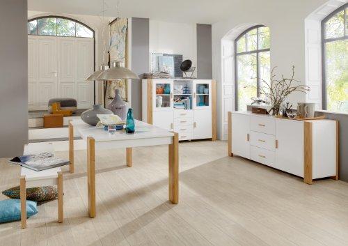 Atlas Komplett Set Esszimmermöbel Esszimmer Möbel Speisezimmer Highboard + Tisch + Bank weiß