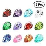 TOYMYTOY 12pcs Zirkon Edelstein Diamanten Tropfen geformte Edelsteine Dekosteine für Schmuck Handwerk Dekoration (Farbe sortiert)