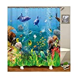 Beydodo Badezimmer Duschvorhang 180x180 Fisch Badvorhang Anti-Schimmel