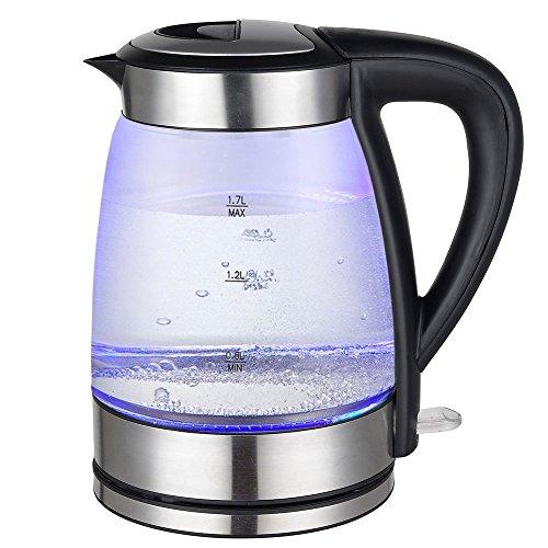 Grafner 2200 Watt Glas Edelstahl Wasserkocher | 1,7 Liter | mit LED Beleuchtung | 360 Grad drehbar | kabellos | Kalkfilter | BPA frei | schwarz |