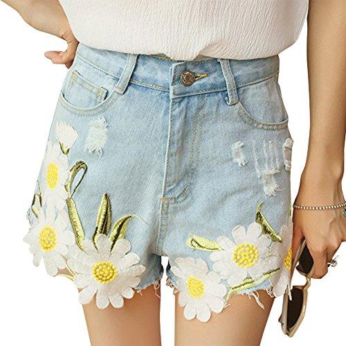 34aca9f3762d37 iBaste Jeanshose Shorts Damen High Waist Denim Shorts Kurze Hose Hotpants  damen Jeans Hose Hell Blau ...