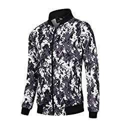 Sevenwell Men's Outdoors Lightweight Windbreaker Bomber Jacket Casual Zipper Coat For Teenager Boys S Camo 1
