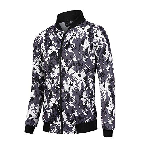 Hombres Moda Camo Baseball Jacket Stand Collar Ligero Chaqueta Militar Niños Casual Zipper Bomber Jacket Coat XL Camo 1 (Stich-detail-jumper)