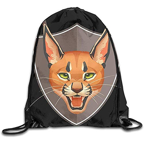 Dingjiakemao Aufbewahrungssäcke,Vintage Böker Caracal Cat Drawstring Bag Stilvolle Süße Print Leichte Sackpack Sport Gym Bundle Rucksack Thema Neuheit Outdoor Classic