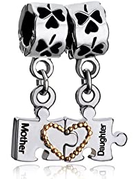 Mother's Day Gifts Mother Daughter Autism Puzzle Heart Four Leaf Clover Charms Dangle Beads Fit Pandora Bracelet