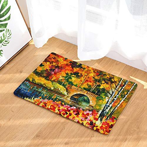 IGZAKER rutschfeste Teppiche Ölgemälde Kreative Landschaft Druckmatten Wasseraufnahme Bad Boden Küche Teppiche 50X80 cm @ 1_50X80 cm