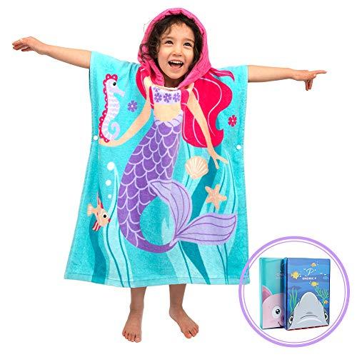 OEM 100% Baumwolle Kinder Jungen Mädchen Kapuzenponchos Schwimmen Bad Handtuch Badetuch Bademäntel (Große Meerjungfrau)