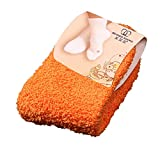 ZYUEER Chaussettes Femme Duffle Chaud, Socquettes Noel Velours De Corail Chaussettes Yoga AntidéRapante Mode Hiver Casual Pas Cher (Orange)