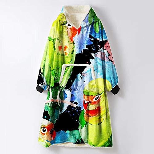 YYKAKUAN Hoodie Robe, weiche warme Hoody Vordertasche Plüsch Fleece Warm Sweatshirt, für Erwachsene Frauen Männer Kapuzen Schlafzimmer Pullover,D -