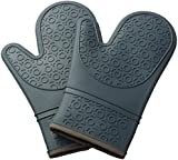 Kuuk Silicone Oven Gloves with Non-slip Grip (1 Pair) Includes Free Heat Mat Gift (Grey)