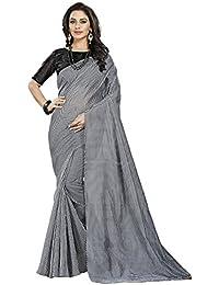 Pramukh Suppliers Women's Checkered Cotton Silk Sarees With Blouse Piece(NAVNEET_BLACK)