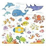 DECOWALL DS-8009 Avventura di Mare Adesivi da Parete Decorazioni Parete Stickers Murali Soggiorno Asilo Nido Camera da Letto per Bambini (Piccolo)