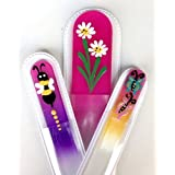 Sunny 3 Piece Colored Hand Painted Set of Crystal Glass Nail Files for Manicures and Pedicures