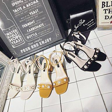 LvYuan Da donna Sandali PU (Poliuretano) Estate Footing Perle Fibbia Heel di blocco Nero Beige Giallo 5 - 7 cm Yellow