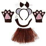 Baoblaze Kinder Tierkostüm 5tlg. - Affen Stirnband Fliege Handschuhe Tutu Rock Schwanz - Affenkostüm Set Karnevalskostüme Tiere Cosplay Kostüm