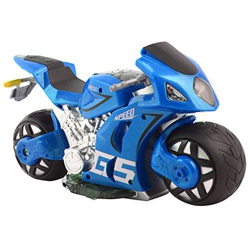 Goplus 4D RC 2.4G Motorrad Racing Bike Simulation Kinder Spielzeug Fernbedienung Motorcycle Rennmaschine Geschenk (Blau)