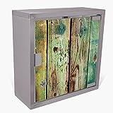 banjado Medizinschrank aus Edelstahl | Arzneischrank abschliessbar 30x30x15cm | Erste Hilfe Schrank mit 2 Schlüsseln | Medikamentenschrank Klein | Hauspotheke mit Motiv Grünes Holz