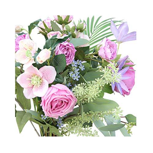Li Hua Cat Set weiß/violett Artifical Clematis und Blumen, für Tisch, Schreibtisch-, Zimmer, Fotografie, Hochzeit, Basteln, etc.