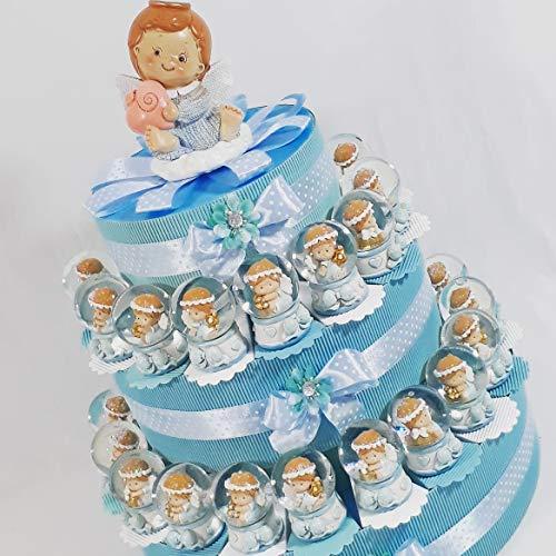 Torta bomboniere sfera di neve vetro angioletto bimbo compleanno nascita battesimo (torta da 35 fette - 3 piani)