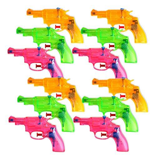Schramm 12er Pack Wasserpistole Mini Revolver ca. 13cm Transparent Revolveroptik Wasserpistolen Wasser Pistole Water Gun Watergun