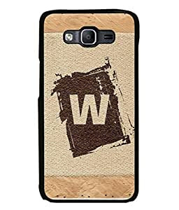 Fabcase alphabet initial w brownish colour salwood corners arial bold font Designer Back Case Cover for Samsung Galaxy E5 (2015) :: Samsung Galaxy E5 Duos :: Samsung Galaxy E5 E500F E500H E500Hq E500M E500F/Ds E500H/Ds E500M/Ds