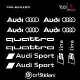 Aufkleber Autoaufkleber Audi motor sport - 10 Stk + bonus 1 stk SPILARTS® (Weiß)