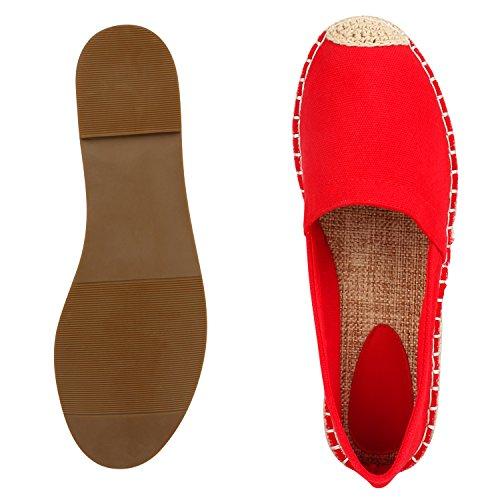 Japado Komfortable Damen Espadrilles Bequeme Slipper Funkelnde Glitzerapplikationen Modische Sommer Schuhe Gr. 36-41 Rot Beige