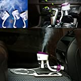 TiaoBug Car Air Humidifier, Mini Portable Travel Cool Mist Car Air Humidifier Automatic Shut-off Aromatherapy Essential Oil Diffuser with Dual USB Charger for Cars, Office, Home Purple One Size