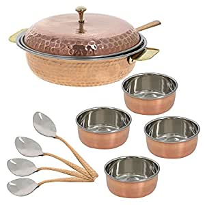 Indian Traditional Serveware Donga Copper Serving Bowl Tureen With Spoon