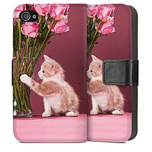 Apple iPhone 4 Housse Étui Silicone Coque Protection Bébé chat Kitten Chat Sideflip Sac