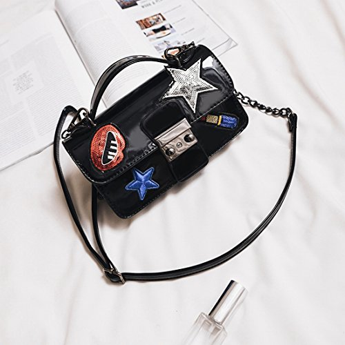 Weiblich Fünfzackigen Stern Gestickt Lock-Schnalle Pailletten Kleines Quadratische Tasche Schulter Messenger Mode-Paket Schwarz