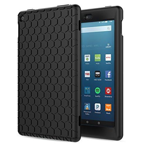 MoKo Hülle für Fire HD 8 2016 - [Honey Comb Series] Lightweight Silikon Case Stoßfest [Kids Kinderfreundlich] Schutzhülle für das neue Fire HD 8 Tablet (6. Generation - 2016), Schwarz